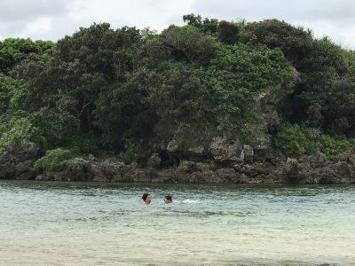 星砂の浜で初シュノーケリング。海に一歩入っただけで寄ってくる大量の魚に大興奮!